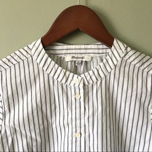 Madewell Tops - Madewell Striped Embroidered Balloon Sleeve Shirt